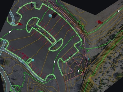 Design work overlaid on high quality drone mapping